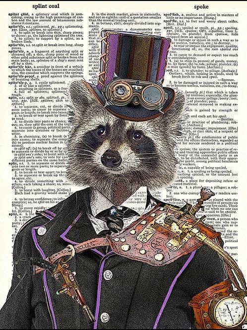 Fresh Prints of CT - Steampunk Raccoon Vintage Dictionary Art Print