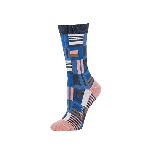 Zkano Socks - Denim Patchwork Women's Crew Socks