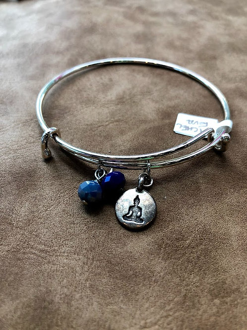 Rachel Eva - Buddha Blue Bead Silver Bangle Charm Bracelet