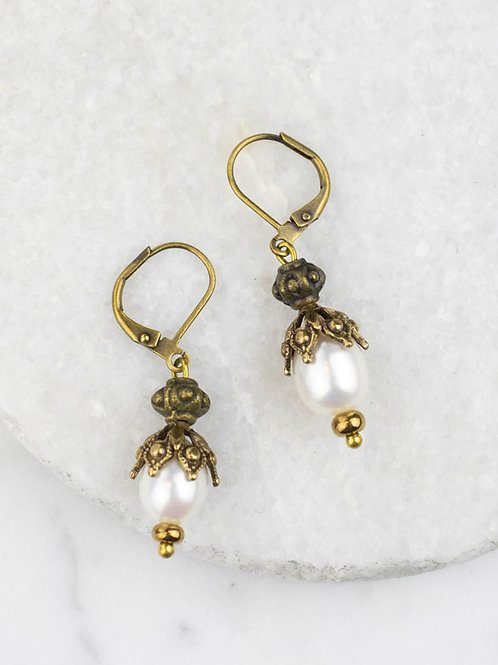 Grandmother's Buttons - Priceless Pearl Earrings