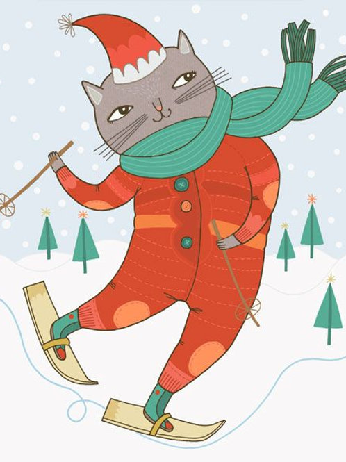 Red Cap Cards - Skiing Cat Card