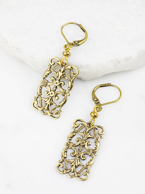 Grandmother's Buttons - Baroque Dream Earrings in Brass