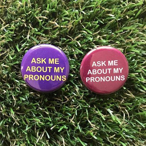 Double Denim Dude - Ask Me About My Pronouns Button