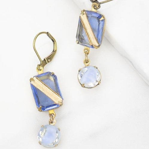 Grandmother's Buttons - Light Sapphire Givre' Earrings