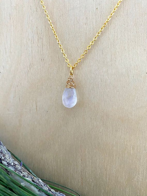 The Girl With The Pearl - Rainbow Moonstone Drop Necklace