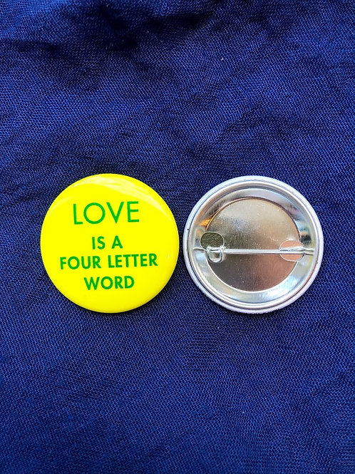 Popcorn - Love Is A Four Letter Word Button