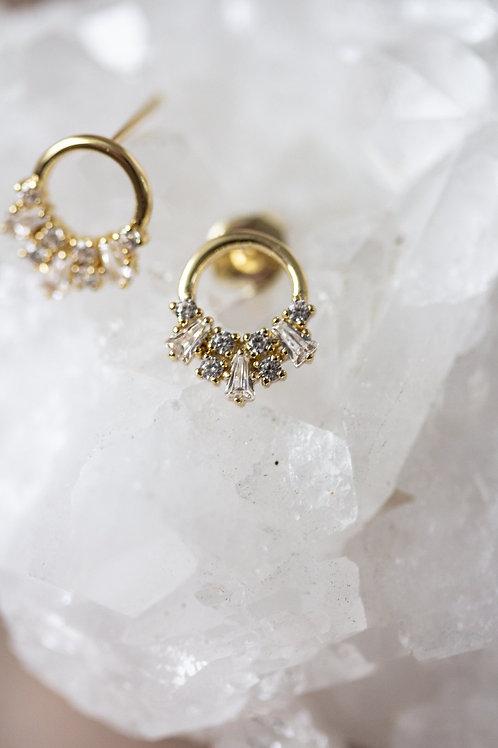Borcik Jewelry - Celeste Baguette Circle Stud Earrings