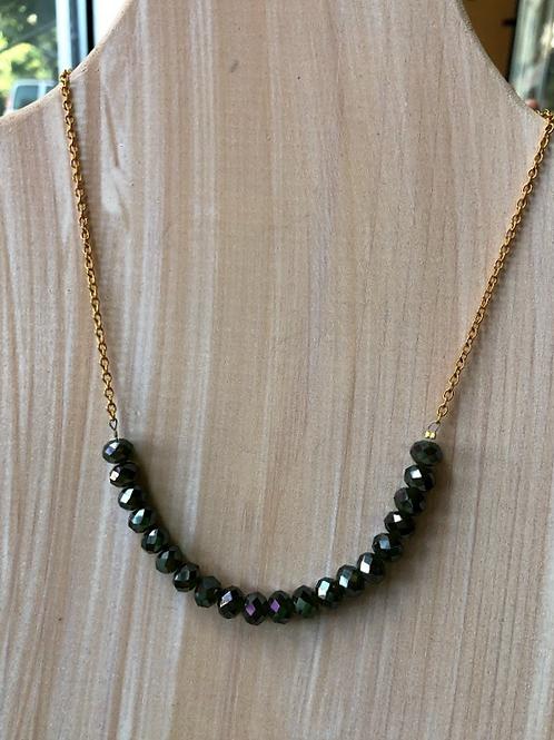 Rachel Eva - Green Bead Gold Chain Necklace
