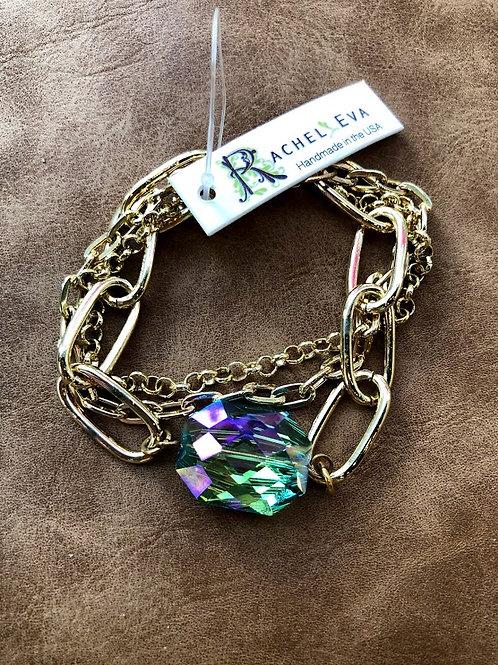 Rachel Eva - Blue Crystal Gold Chain Bracelet
