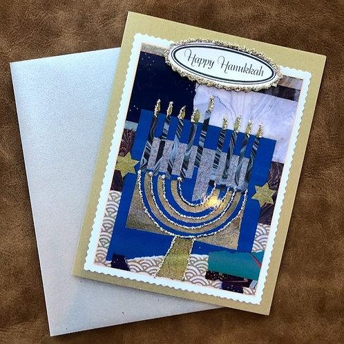 Nelda Barcher - Happy Hanukkah Menorah Glitter Card