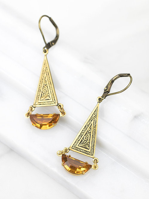 Grandmother's Buttons - Zola Earrings in Amber