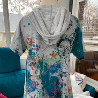 Inoah - Gray Short Sleeve Hooded Tunic in Size Small