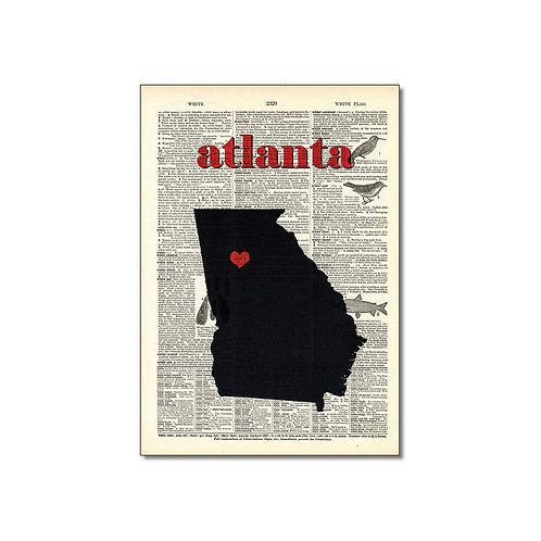 Vintage Dictionary Art - Atlanta, GA Art Print