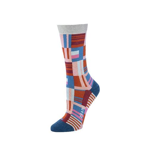 Zkano Socks - Misty Rose Patchwork Women's Crew Socks