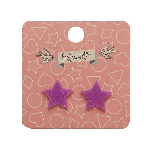 Erstwilder - Purple Glitter Star Stud Earrings