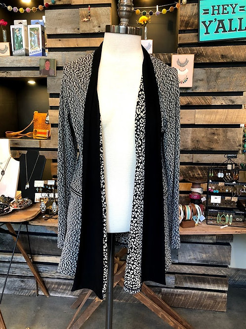 Sun Kim - Grey Black Leopard Print Duster