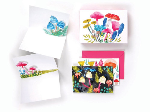 Up With Paper Luxe - Mushrooms Pop-Up Cards (Boxed Set of 8)