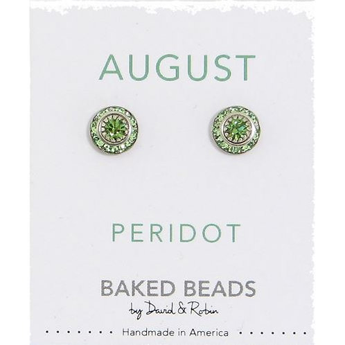 Baked Beads - August Peridot Birthstone Earrings