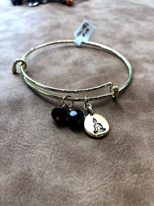 Rachel Eva - Buddha Black Bead Gold Bangle Charm Bracelet