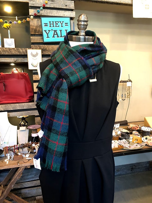 Top It Off - Blue Green and Red Plaid Scarf