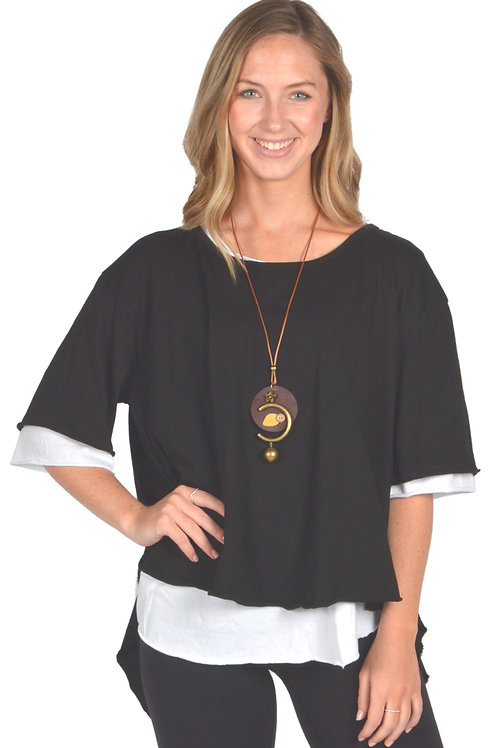 Catherine Lillywhite - Black Layered Shirt with Necklace