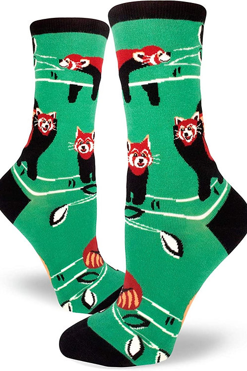 Mod Socks - Red Panda Mint Women's Crew Socks
