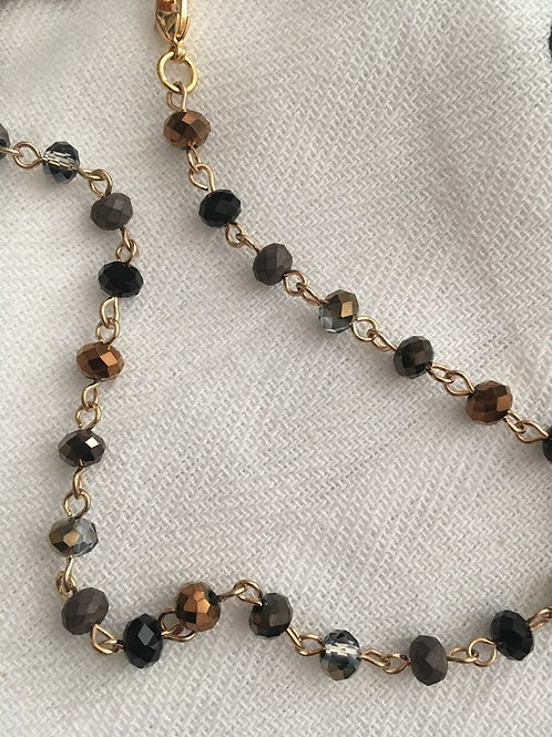 Rachel Eva - Black and Brown Bead Mask Chain Necklace