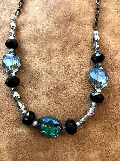 Rachel Eva - Blue Crystal Black Bead Necklace