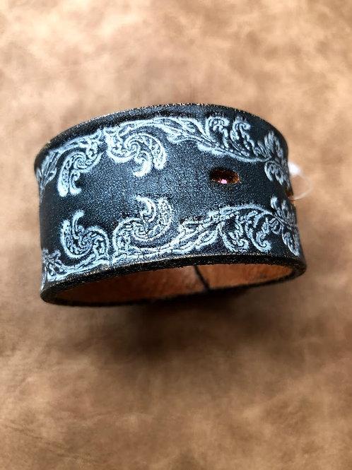 Wide Cuff Bracelet In Dark Brown With White Filigree Pattern