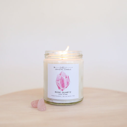 Jax Kelly - Rose Quartz Crystal Candle (Love)