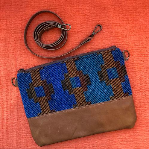 Little West Belles - Blue Patterned Convertible Clutch/Crossbody