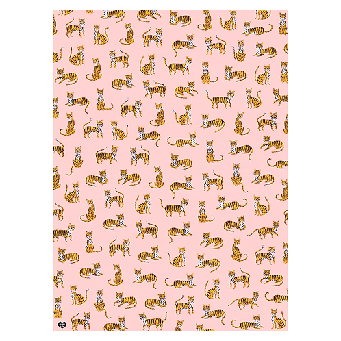 Girl W Knife - Off Duty Tigers Gift Wrap 5 Sheets
