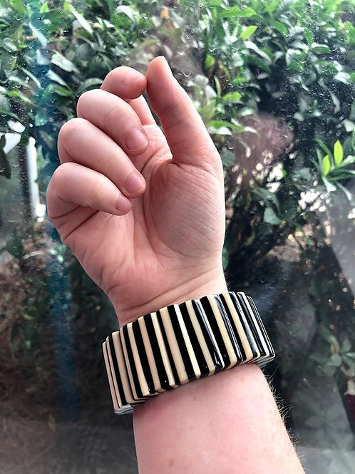Echo France - Black and White Striped Stretch Bracelet