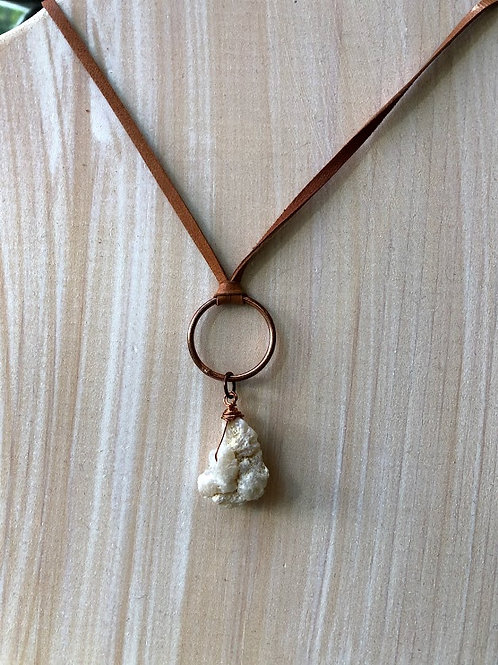 Rachel Eva - Snow Quartz Crystal On Hoop Leather Necklace