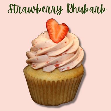 GF Strawberry Rhubarb Cupcake