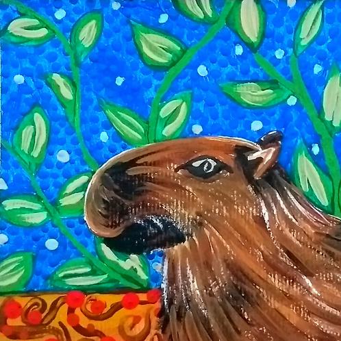 Pintura em papel de CAPIVARA - Curitibana
