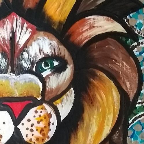Pintura em papel de LEÃO - Leão de ruínas 1