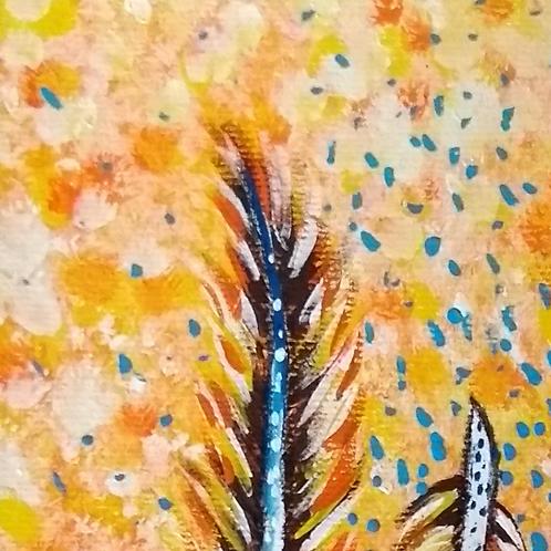 Pintura em papel de PENAS - Três penas