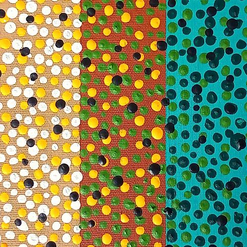 Pintura em tela ABSTRATO - Abstração com pontos sobre turquesa, marrom e camurça