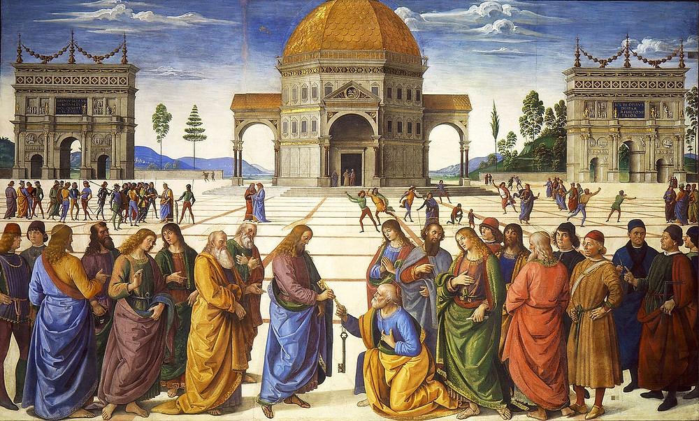 Cristo entregando as chaves para São Pedro - Pietro Perugino