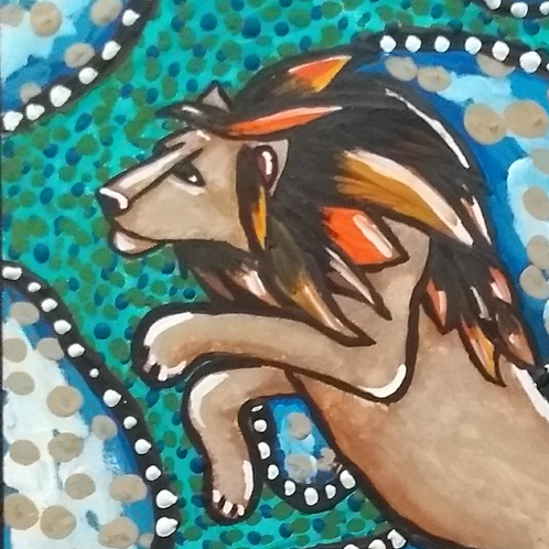 Pintura em papel de LEÃO - Leão de ruínas 2 (O salto)