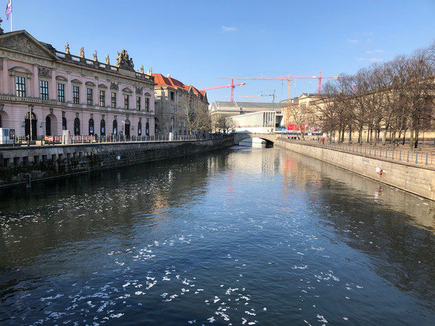 Ice forming on the River Spree in Berlin