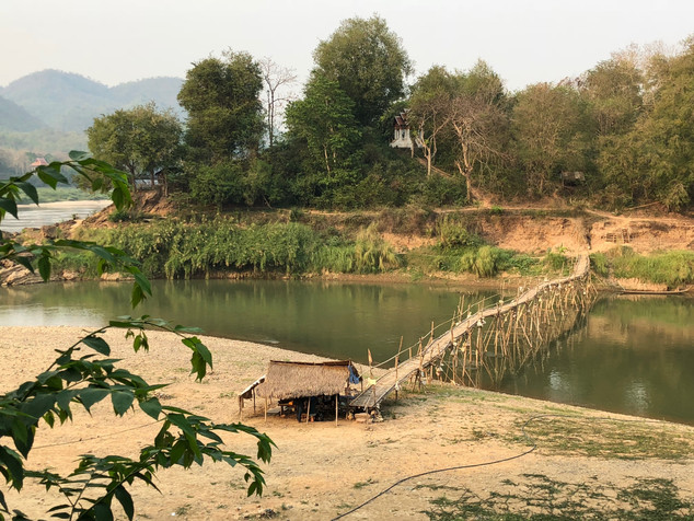 A bamboo bridge over the Nam Khan River in Laos