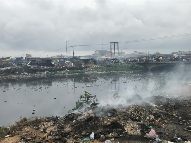 An electronics waste site in Accra Ghana