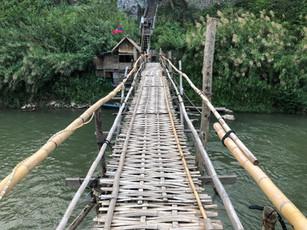 A bamboo bridge over the Nam Khan River in Laos