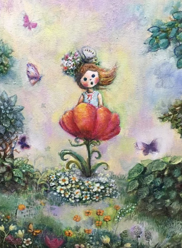 森の妖精 油彩