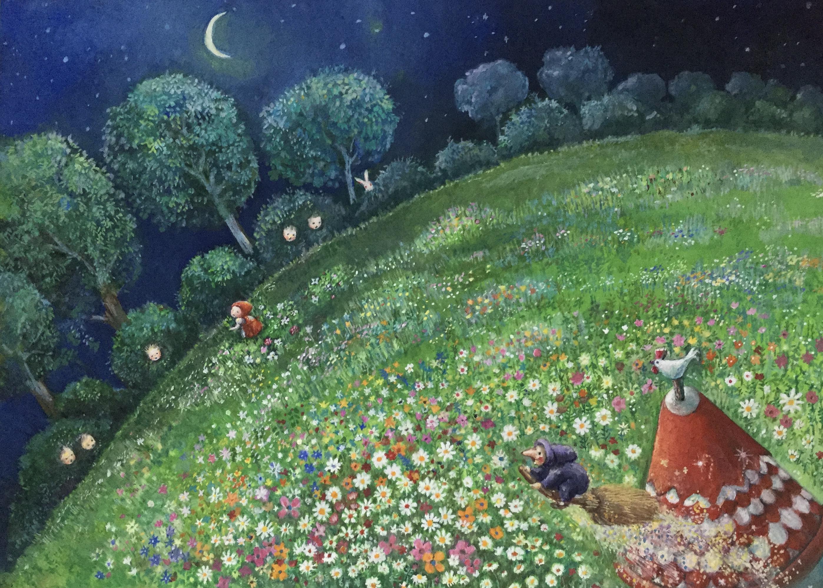 魔女の庭 アクリル絵の具