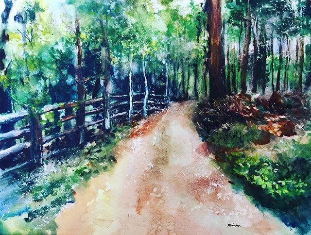 森の小径 水彩