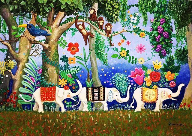 仔象の行進  水彩