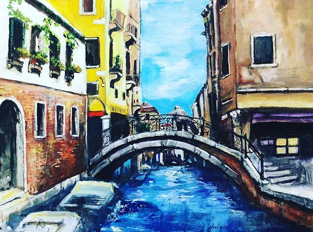 橋を見上げて 水彩